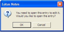 "Notes error message: ""You need to open this entry to edit it."""