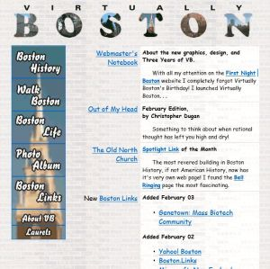 The Virtually Boston home page as of May 1997.