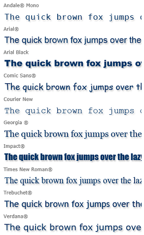 Web Core Fonts (Image from Ascender Corporation by Monotype Imaging)